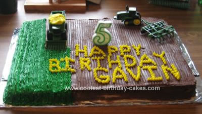 Homemade Tractor Birthday Cake