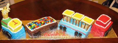 Homemade Train 1st Birthday Cake