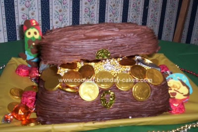 Homemade Treasure Chest Birthday Cake