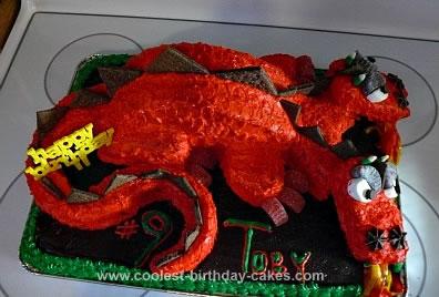 Homemade Two Headed Dragon Birthday Cake