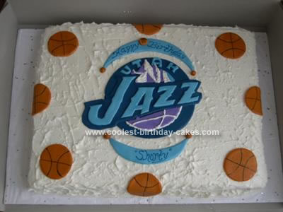 Homemade Utah Jazz Basketball Cake