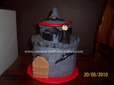 Homemade Vampire Castle Cake
