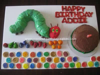Homemade Very Hungry Caterpillar Birthday Cake