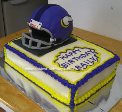 Homemade Vikings Football Helmet Cake