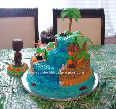 Homemade Hawaiian Luau Waterfall Birthday Cake