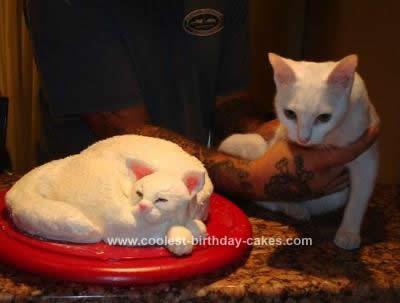 Homemade White Cat Birthday Cake
