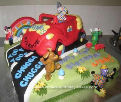 Homemade Wiggles Big Red Car Birthday Cake