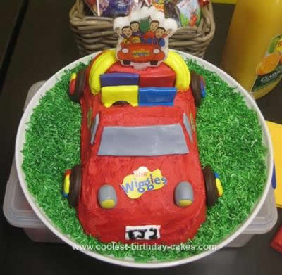 Homemade Wiggles Big Red Car Birthday Cake