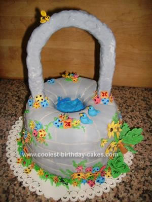 This homemade wishing well cake was made with two batches of sponge cake it