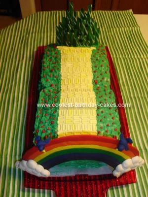 Homemade Wizard of Oz Yellow Brick Road Cake