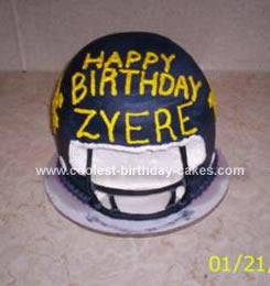 Homemade WVU Football Helmet Birthday Cake