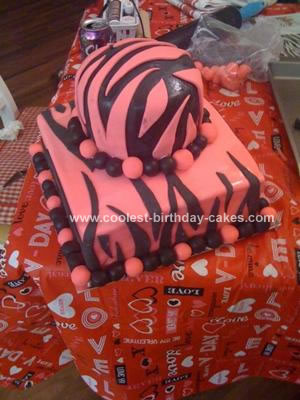 Homemade Zebra Pattern Baby Shower Cake
