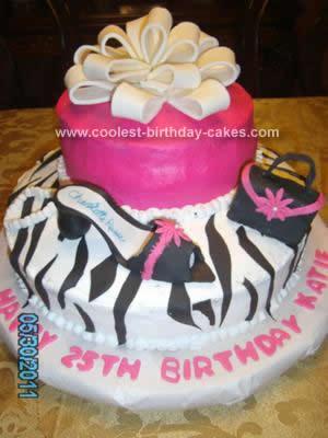 Homemade Zebra Print Gift Box Cake