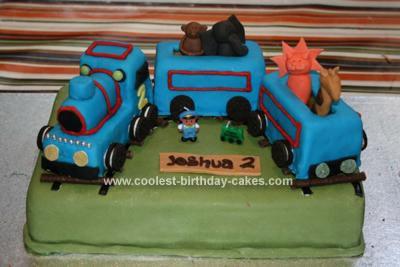 Homemade Zoo Train Birthday Cake