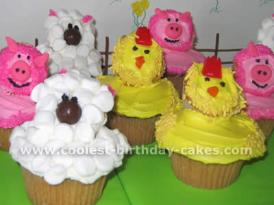 Cute Cupcakes for a Barnyard Theme