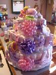 Diaper Cake in Pink & Purple