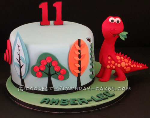 Awesome Funky Dinosaur Tree Birthday Cake