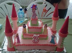 Disney princesses at a 3rd Birthday Party on a Castle