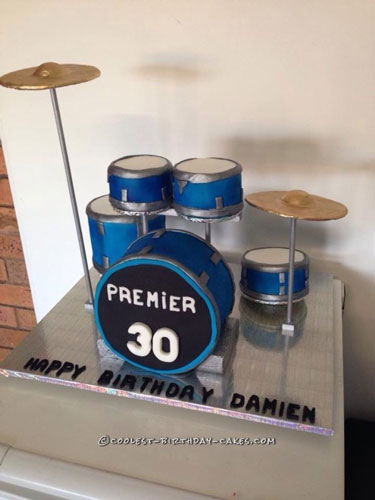 Cool Drum Kit Cake for a Drum Fanatic