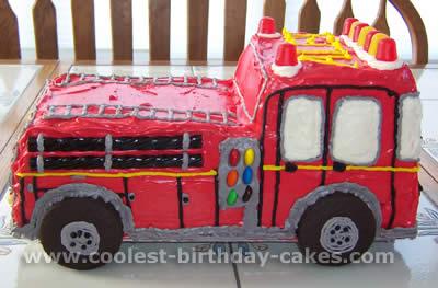 Fire Truck Kids Cake