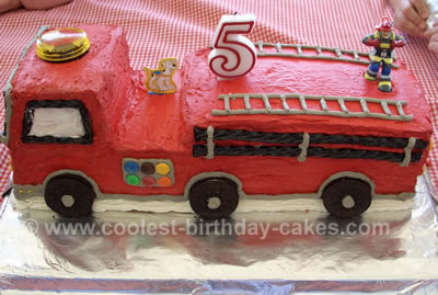 Cool Fire Engine Birthday Cake