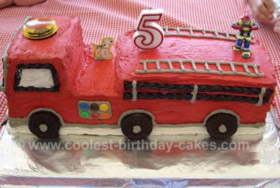 Cool Fire Engine Birthday Cake