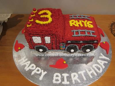 Brilliant Coolest Fire Engine 3Rd Birthday Cake Birthday Cards Printable Nowaargucafe Filternl