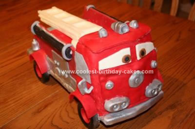 Tremendous Awesome Homemade Fire Engine Birthday Cake Funny Birthday Cards Online Alyptdamsfinfo