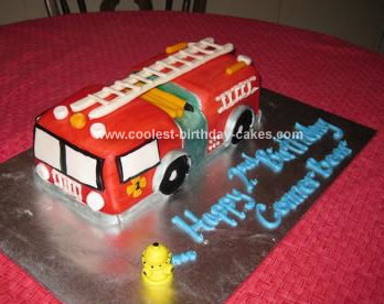 Astounding Coolest Firetruck Birthday Cake Funny Birthday Cards Online Overcheapnameinfo