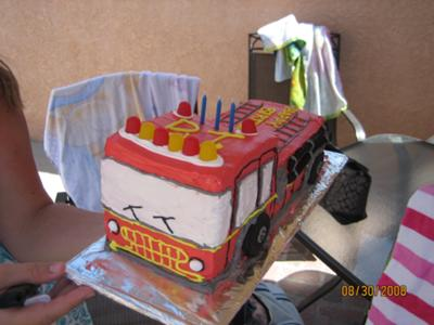 Fire Truck Birthday Cake on Fire Truck Cake