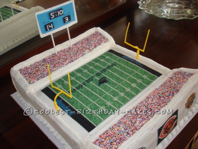 Coolest 80th Birthday Football Stadium Cake