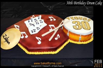 30th Birthday Drum  Cake
