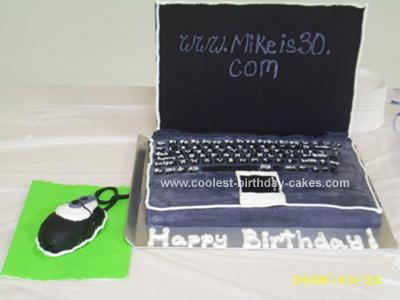 Homemade Husband's Nerdy Laptop Cake