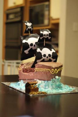Pirate Birthday Cake on Homemade Pirate Ship Cake