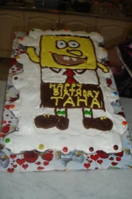 Spongebob Birthday Cake on Homemade Spongebob Pull Apart Cream Cake