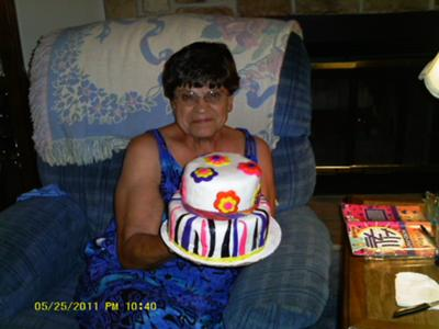 my aunt with her cake