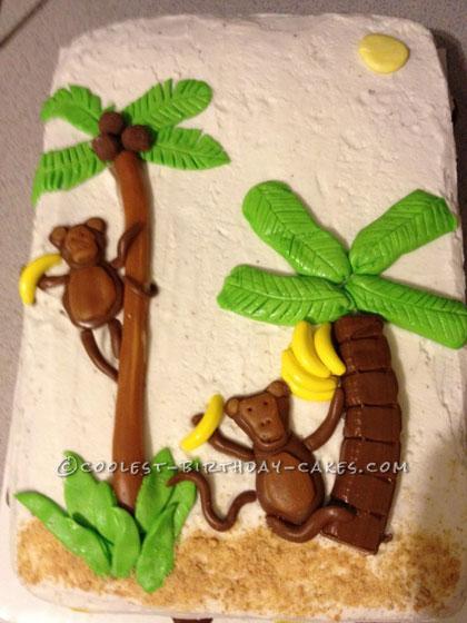 Coolest Kids Tropical Luau Monkey Cake