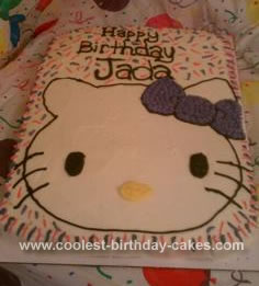 Homemade 1st Hello Kitty 1/2 Sheet Cake